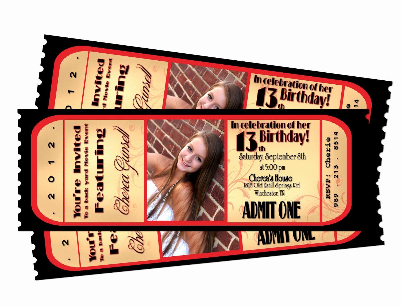 Movie Ticket Invitation Template Free Inspirational Movie Night Ticket Birthday Printable Invitation by Sarahmkey