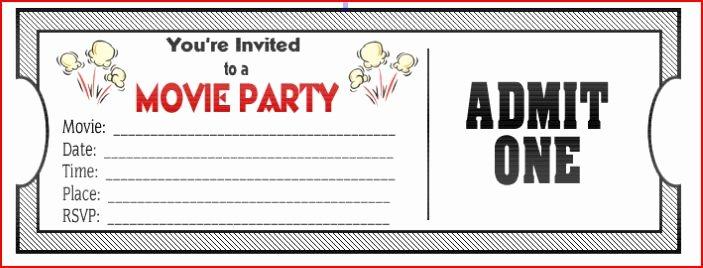 Movie Ticket Invitation Template Free Lovely Movie Ticket Birthday Invitations Ideas – Bagvania Free