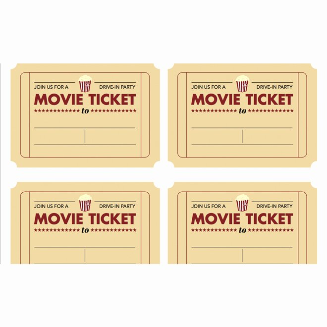 Movie Ticket Invitation Template Free New 7 Best Of Free Printable Blank Movie Tickets Free