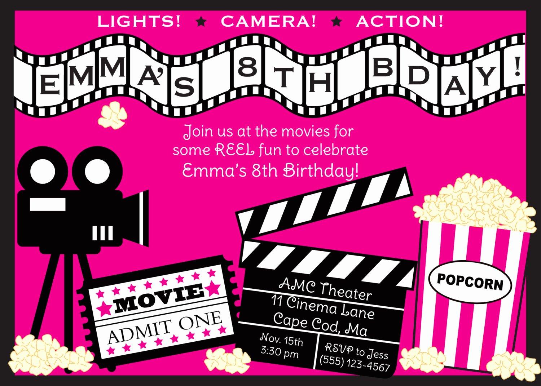 Movie Ticket Invitation Template Free Unique Movie Ticket Party Invitation Templates