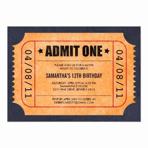 Movie Ticket Invitation Template Fresh Movie Ticket Invitations
