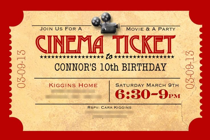 Movie Ticket Invitation Template Inspirational Movie Ticket Template