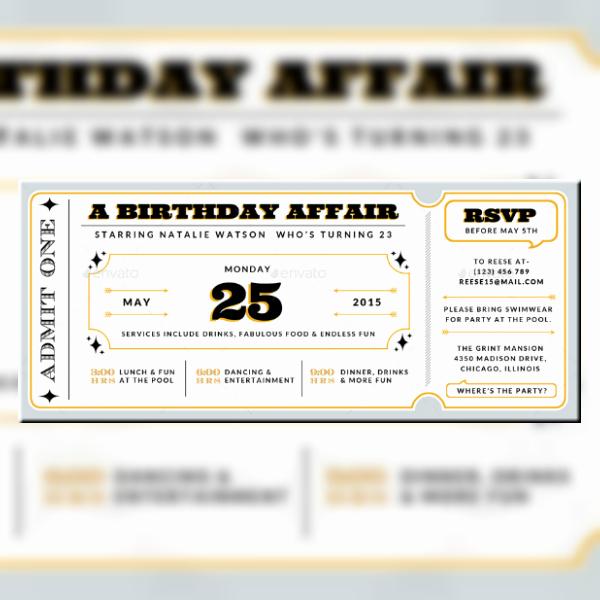 Movie Ticket Invitation Template Lovely 12 Movie Ticket Invitation Designs & Templates Psd Ai