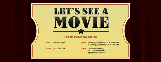 Movie Ticket Invitation Template Lovely Invitations Free Ecards and Party Planning Ideas From Evite