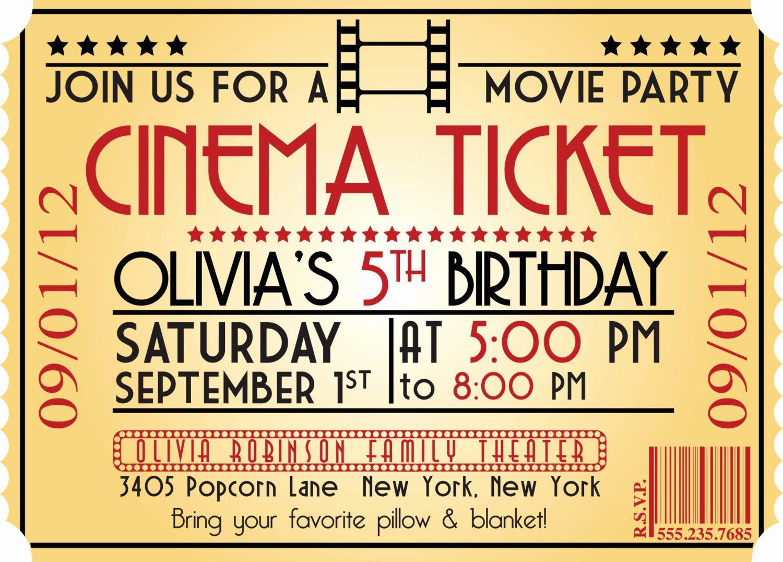 Movie Ticket Invitation Template New Movie Ticket Birthday Invitations Ideas – Bagvania Free