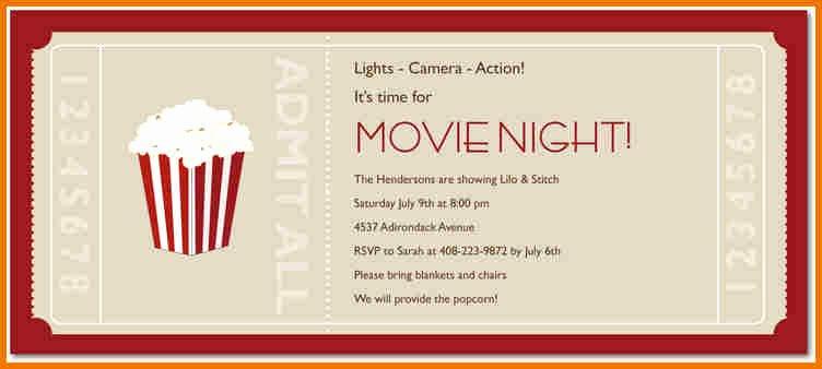 Movie Ticket Invitation Template New Movie Ticket Template