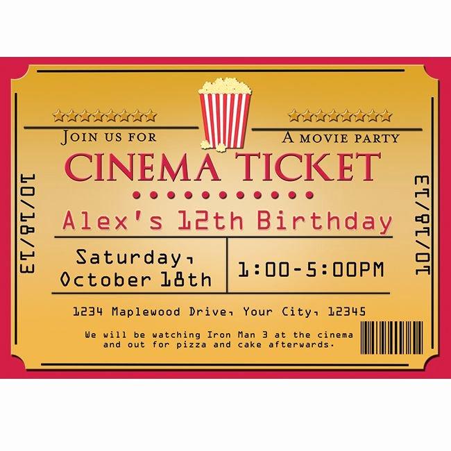 Movie Ticket Invitation Template Unique Cinema Movie theater Popcorn Ticket Birthday Party event