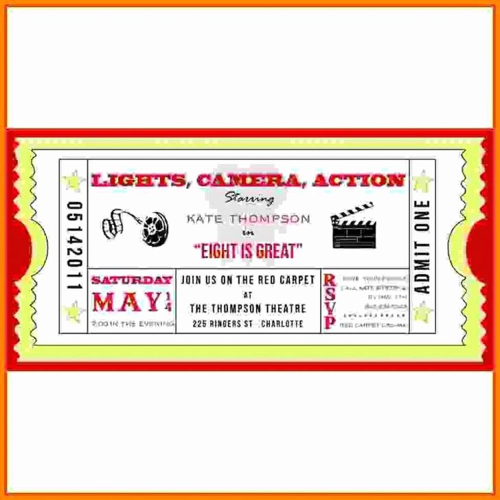 Movie Ticket Invitation Template Unique Movie Ticket Template for Word