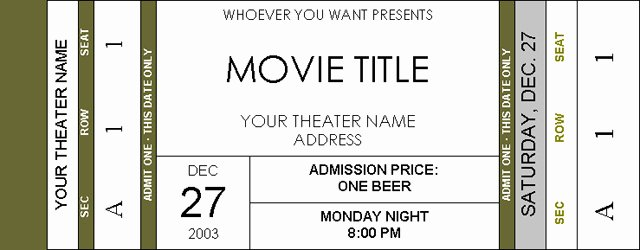 Movie Ticket Template Word Beautiful Movie Ticket Template Beepmunk
