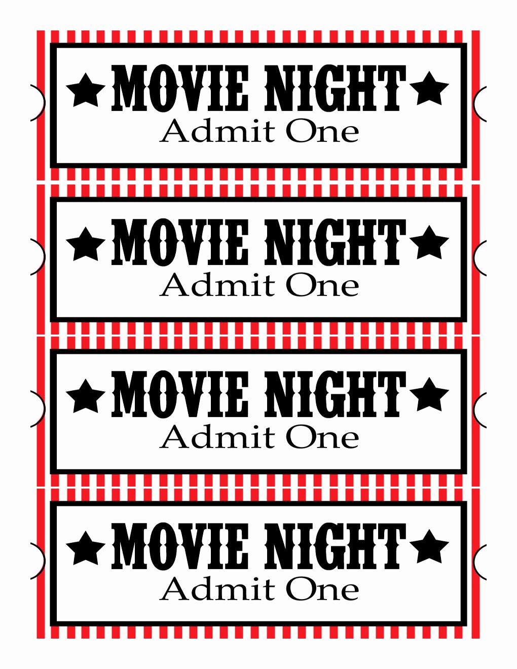 Movie Ticket Template Word Beautiful Sweet Daisy Designs Free Printables Home Movie theatre Night