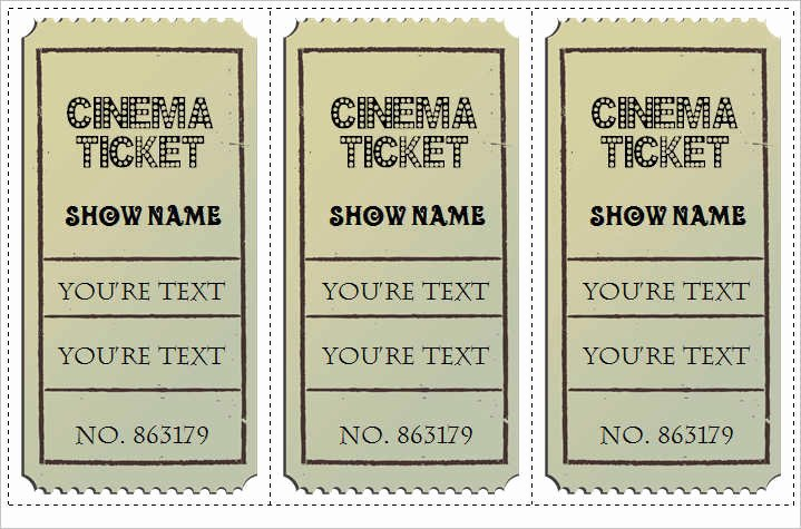 Movie Ticket Template Word Elegant 30 Free Movie Ticket Templates Printable Word formats