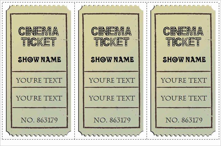 Movie Ticket Template Word Elegant 30 Free Movie Ticket Templates Printable Word formats