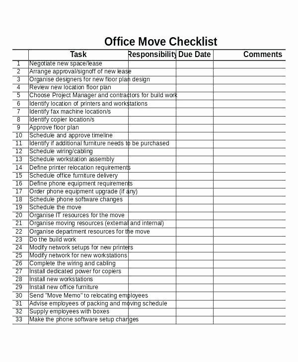 Moving Office Checklist Template Awesome House Moving Checklist Templates to Help You organize Your
