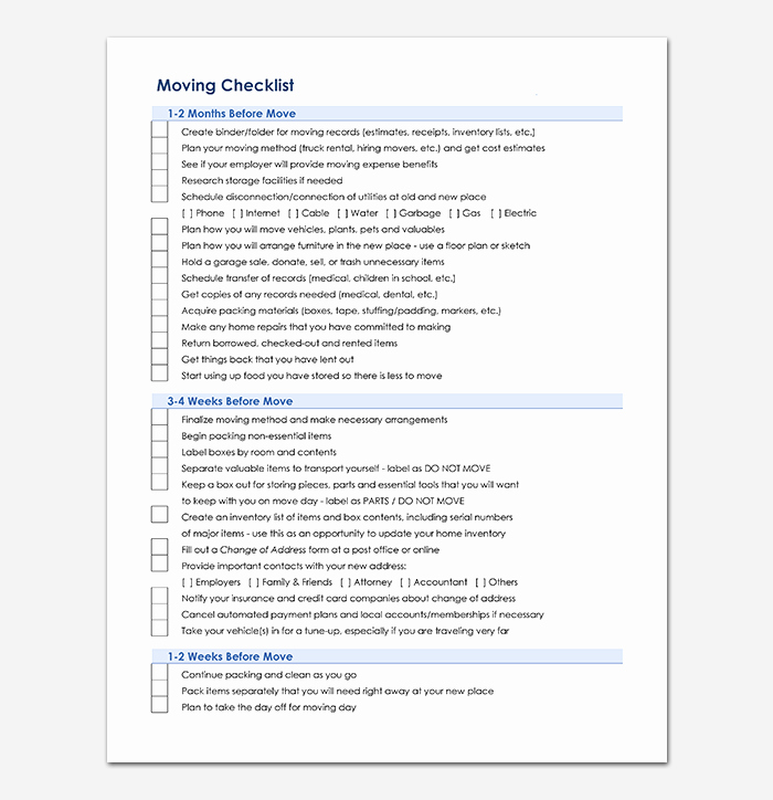 Moving Office Checklist Template Awesome Moving Checklist Template 20 Free Printable for Word