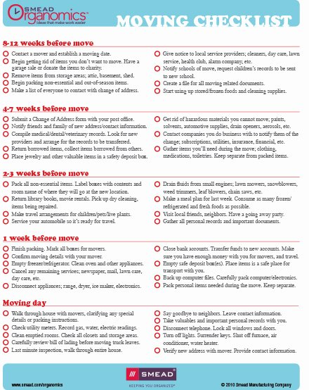 Moving Office Checklist Template Beautiful Smead organomics Planning Your Move Checklist