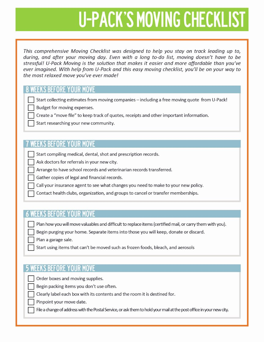 Moving Office Checklist Template Fresh 45 Great Moving Checklists [checklist for Moving In Out