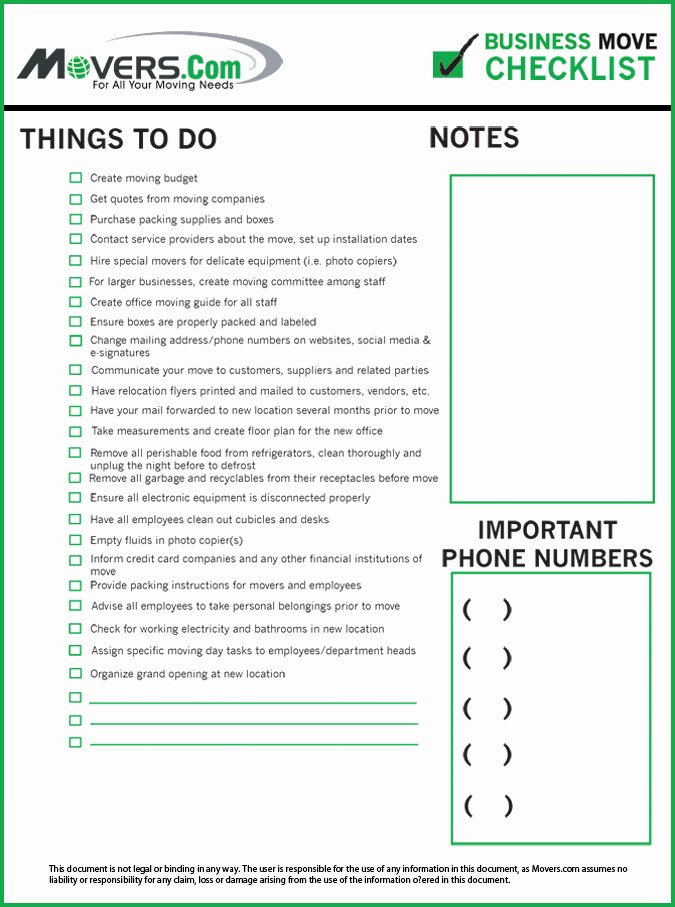 Moving Office Checklist Template Inspirational Business Relocation Checklist