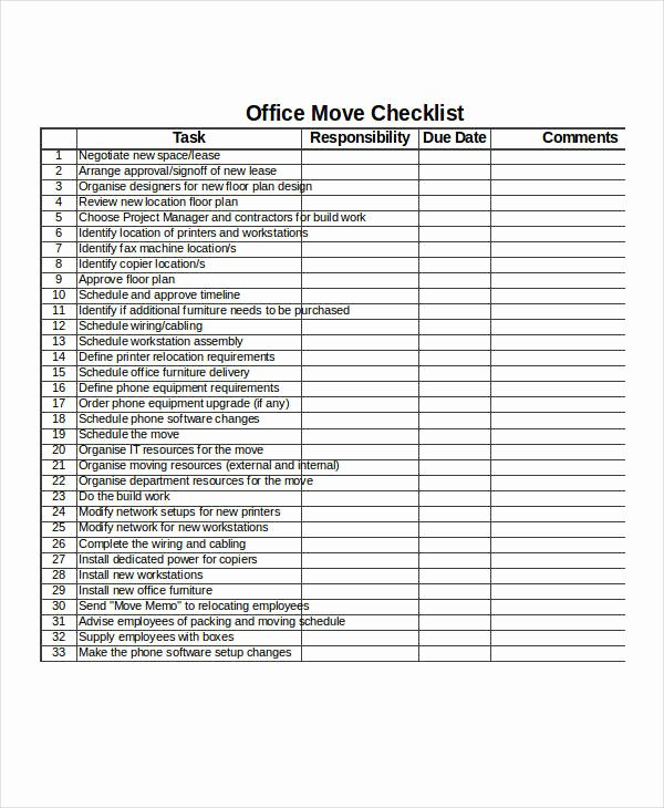 Moving Office Checklist Template Luxury 21 Examples Of Checklists In Excel