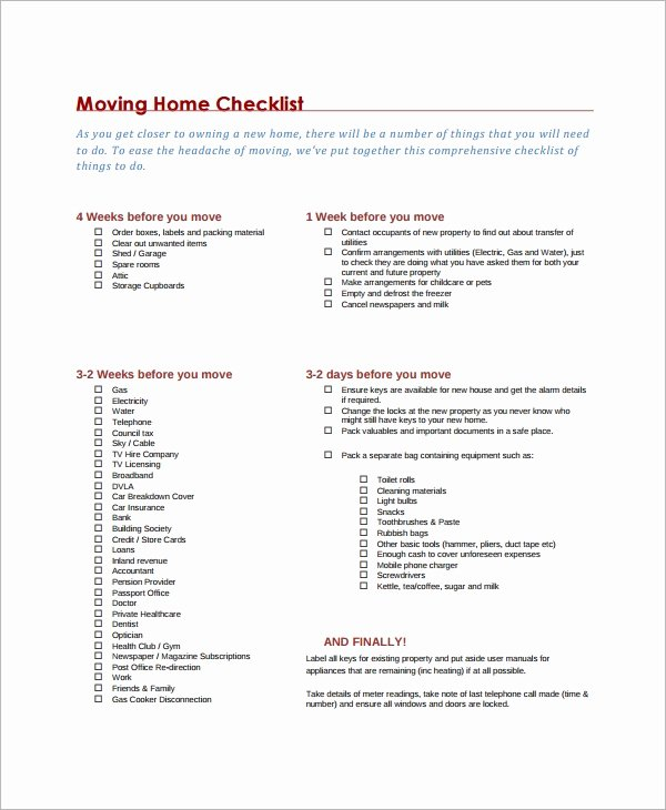 Moving Office Checklist Template Unique 12 Moving Checklist Templates