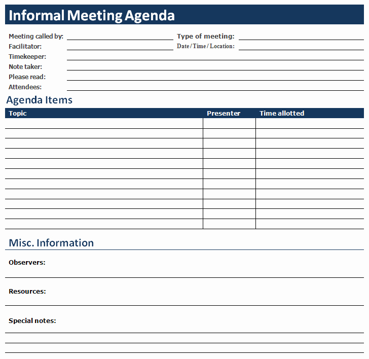 Ms Office Agenda Template Best Of Ms Word Informal Meeting Agenda