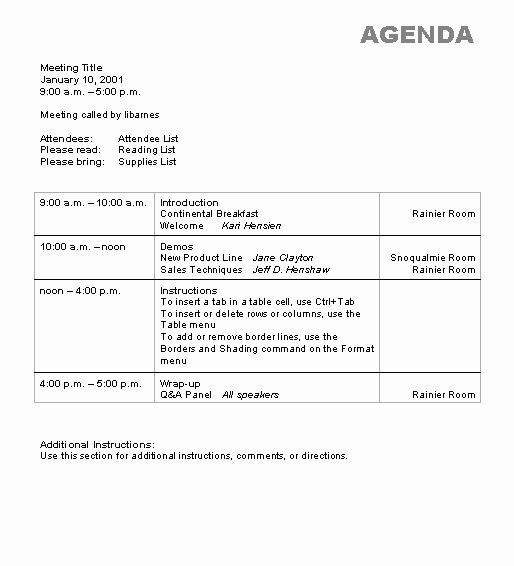 Ms Office Agenda Template New Agenda Wizard Template Microsoft Word Template