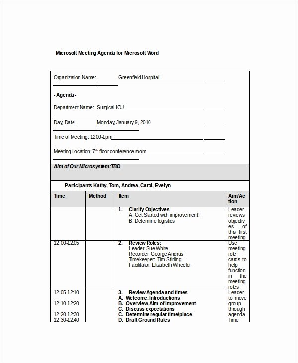 Ms Office Agenda Template Unique 12 Microsoft Meeting Agenda Templates – Free Sample