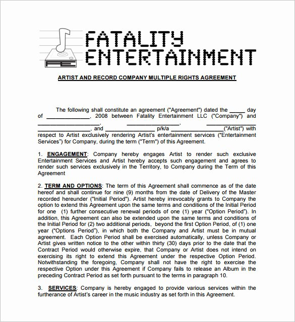 Music Artist Contract Template Awesome 20 Music Contract Templates Word Pdf Google Docs