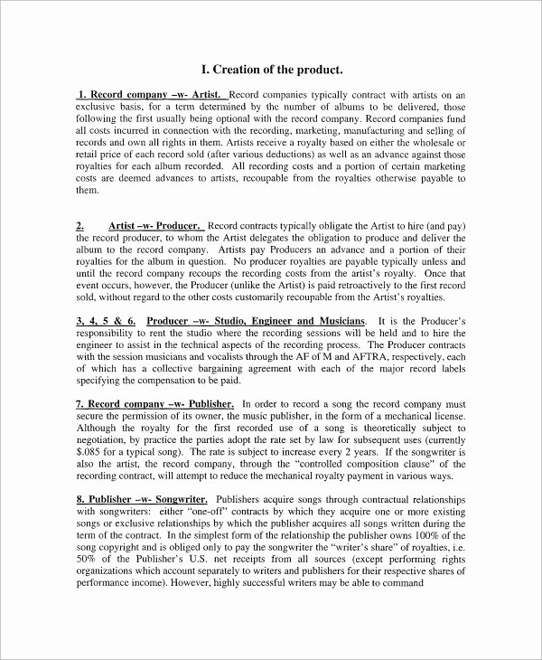 Music Artist Contract Template Awesome 6 Sample Industry Contract Templates