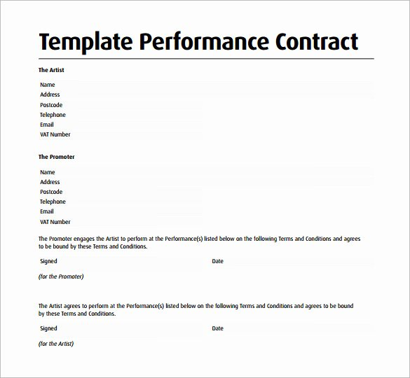Music Artist Contract Template Awesome Performance Contract Template 14 Download Free