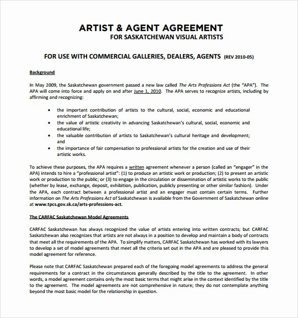 Music Artist Contract Template Best Of 12 Sample Artist Contract Templates to Download for Free