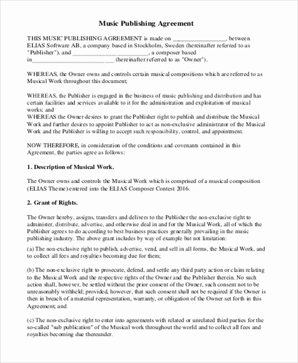 Music Artist Contract Template Best Of 6 Music Agreement Contract Samples