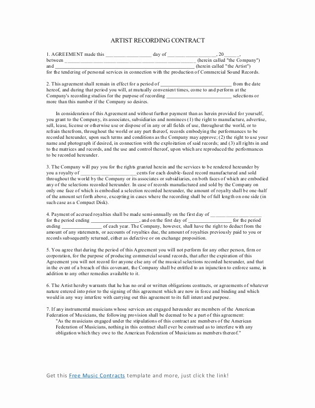 Music Artist Contract Template Inspirational Artist Recording Contract 4