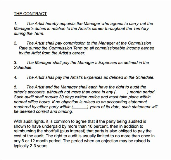 Music Artist Contract Template Luxury 6 Artist Management Contract Templates Word Docs Pdf