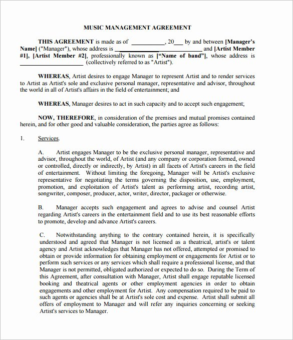 Music Artist Contract Template New 20 Music Contract Templates Word Pdf Google Docs