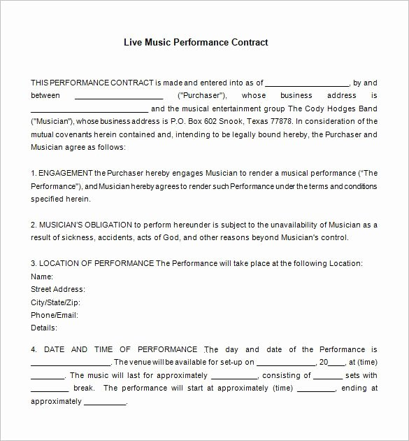 Music Artist Contract Template Unique 10 Best Contracts Images On Pinterest