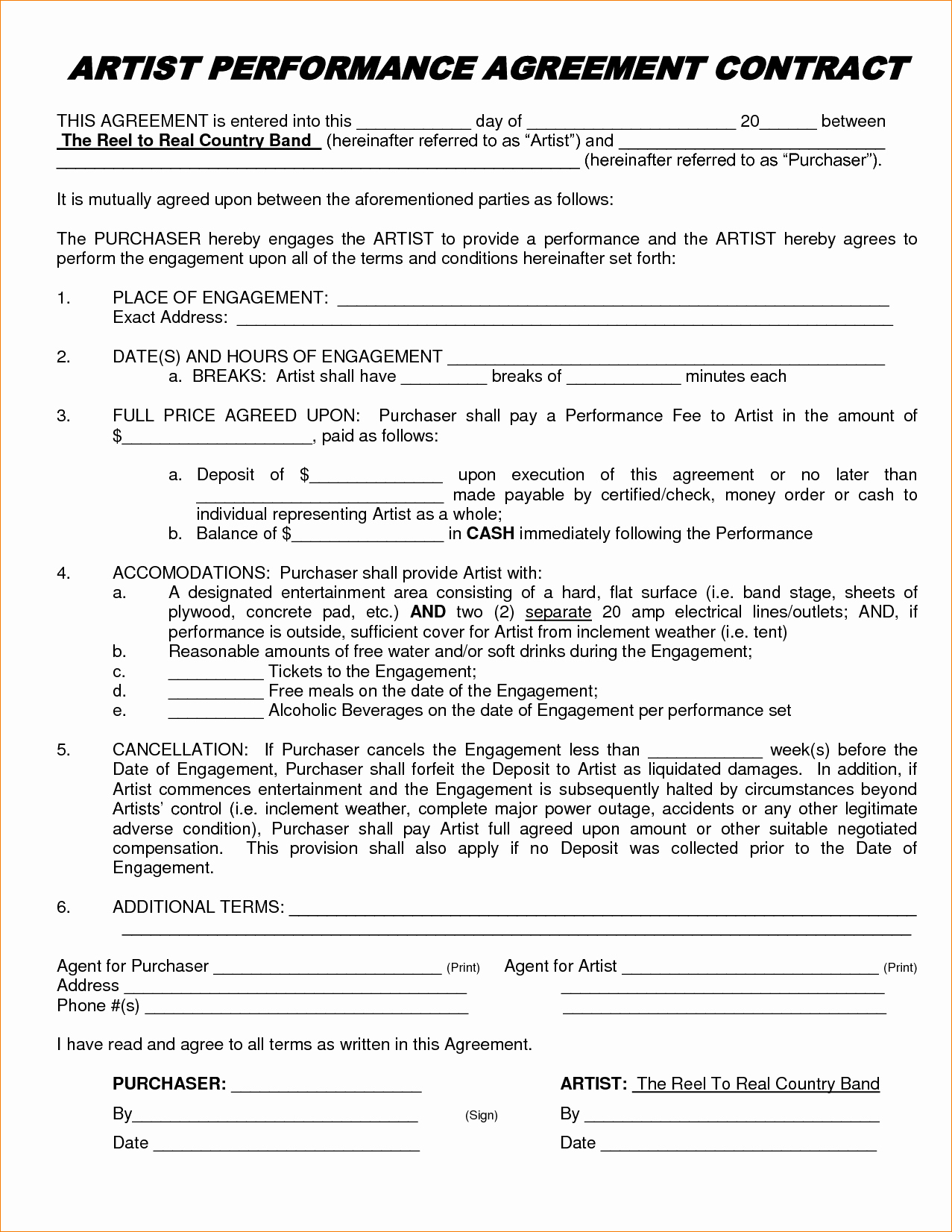 Music Artist Contract Template Unique Artist Performance Contract