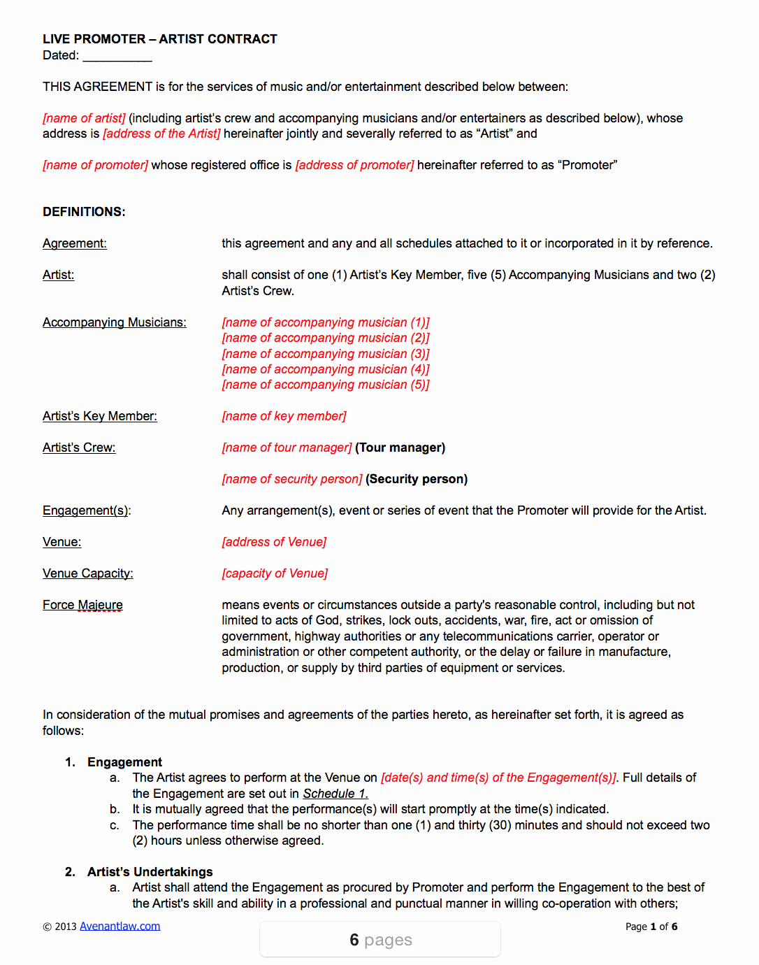 Music Performance Contract Template Elegant Live Promoter Artist Contract Template