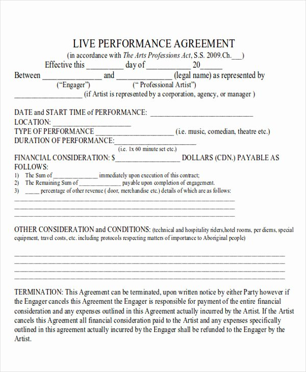 Music Performance Contract Template Elegant Performance Agreement Contract Sample 10 Examples In