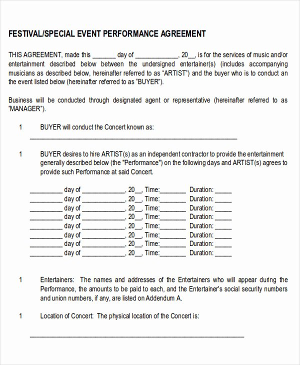 Music Performance Contract Template Fresh Performance Agreement Contract Sample 10 Examples In