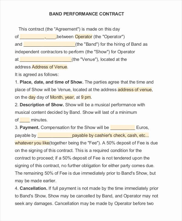 Music Performance Contract Template Lovely 12 Performance Contract Samples & Templates In Pdf Word