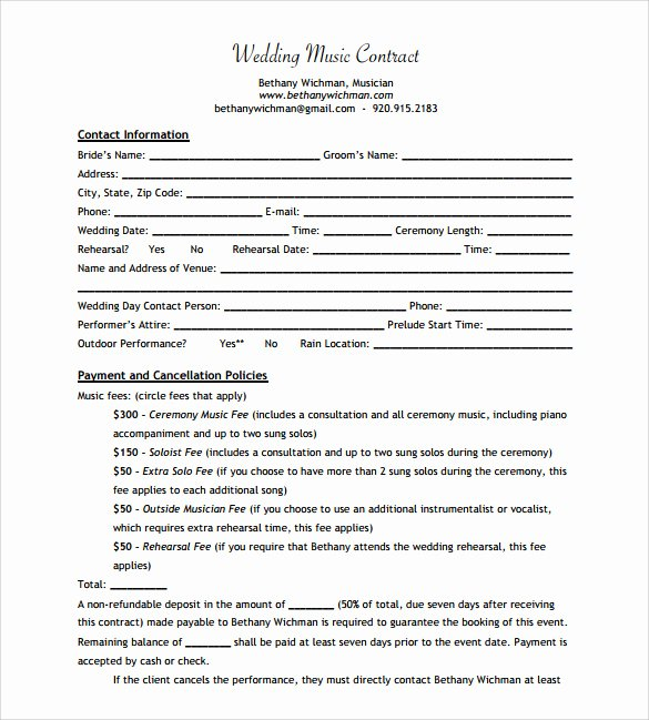 Music Performance Contract Template Lovely 15 Music Contract Templates