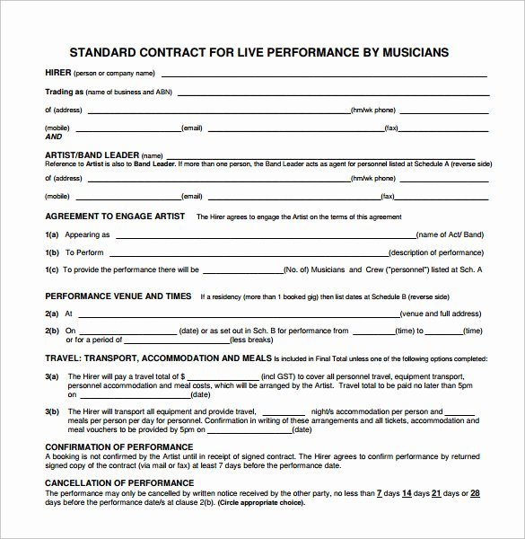 Music Performance Contract Template Luxury Band Contract Template 21 Free Samples Examples format