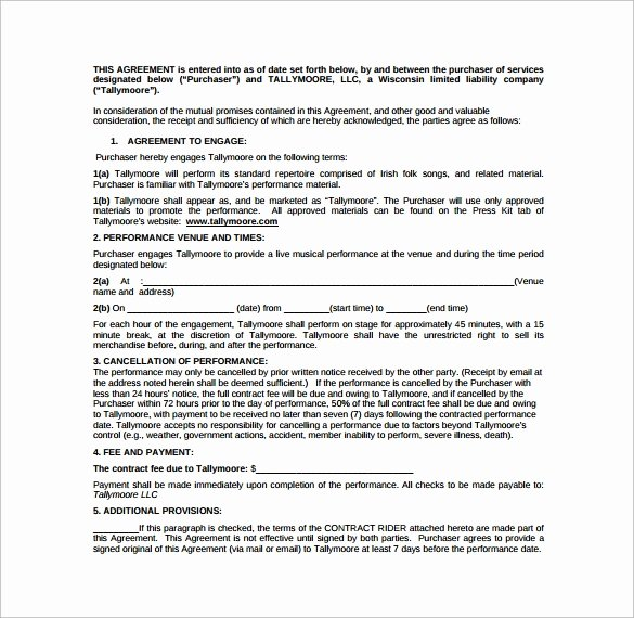 Music Performance Contract Template Luxury Performance Contract Template 11 Download Free