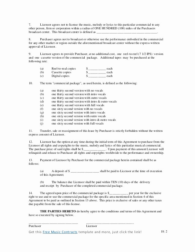 Music Performance Contract Template New Mercial Music Contract