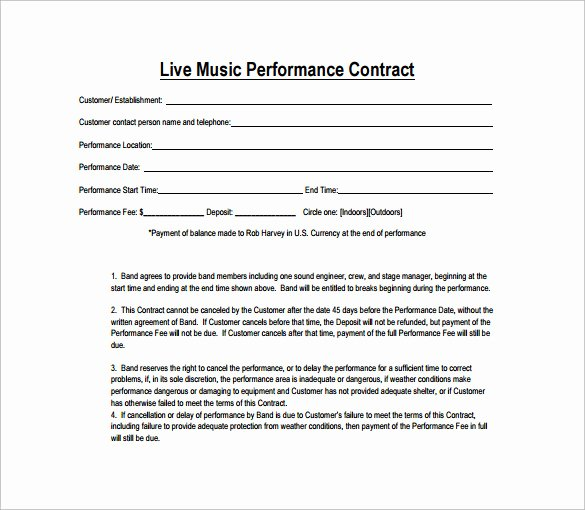 Music Performance Contract Template New Performance Contract Template 14 Download Free