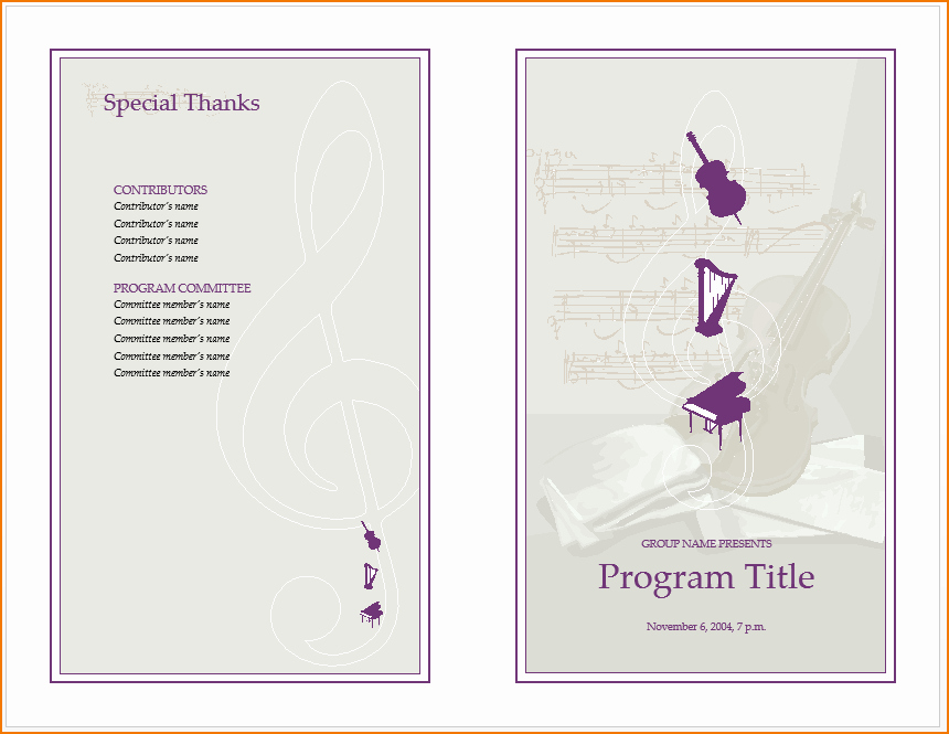 Musical Program Template Awesome 6 Music Program Template