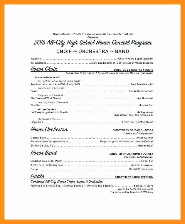 Musical Program Template Beautiful 10 11 Concert Program Word Template