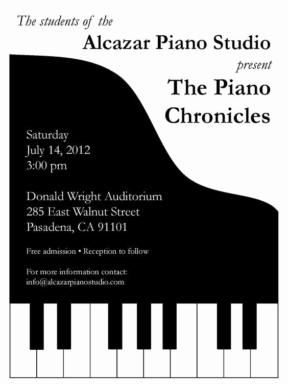 Musical Program Template Beautiful Piano Recital Invitation Stuff I Make
