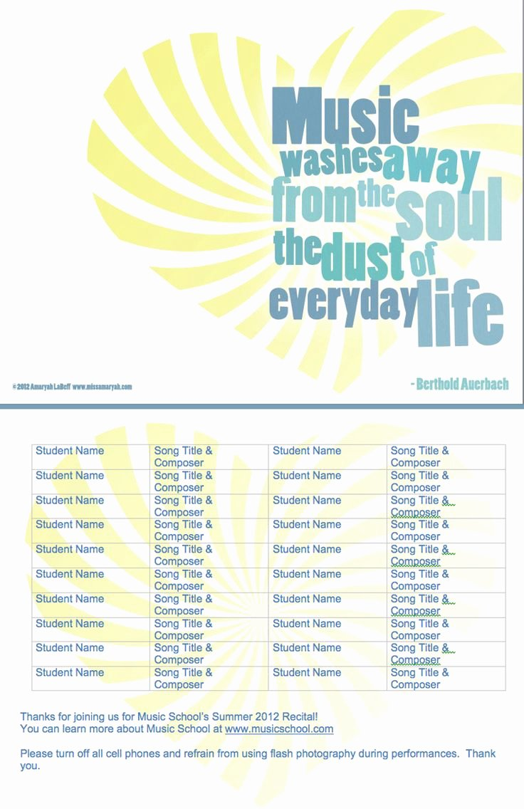 Musical Program Template Best Of 303 Best Images About Teaching On Pinterest
