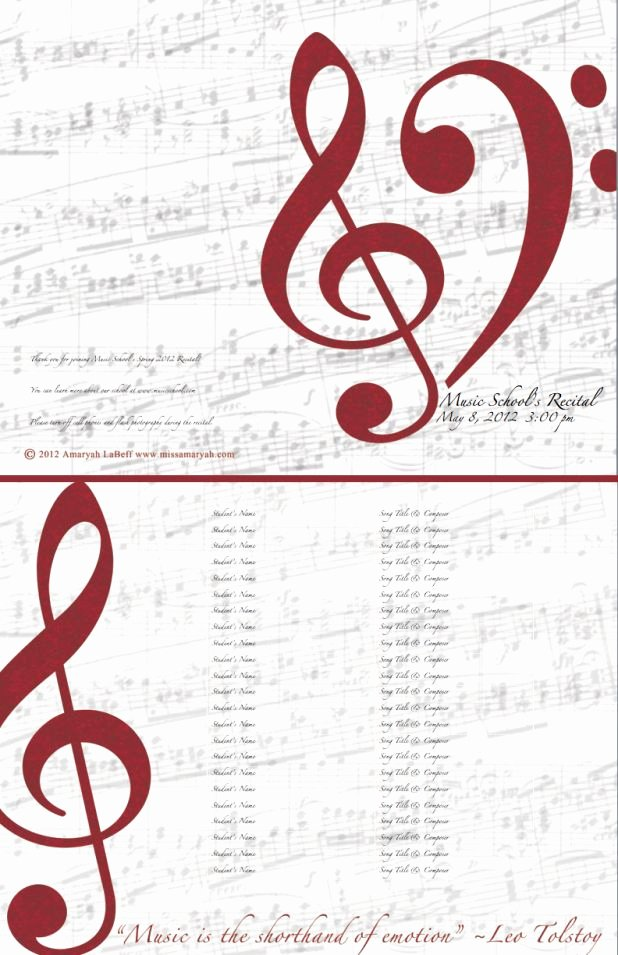 Musical Program Template Elegant Free Editable Recital Program Templates